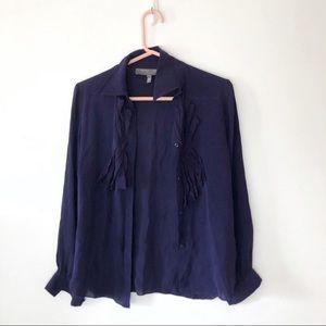 Sachin + Babi Ruffle Silk Blouse Indigo Blue